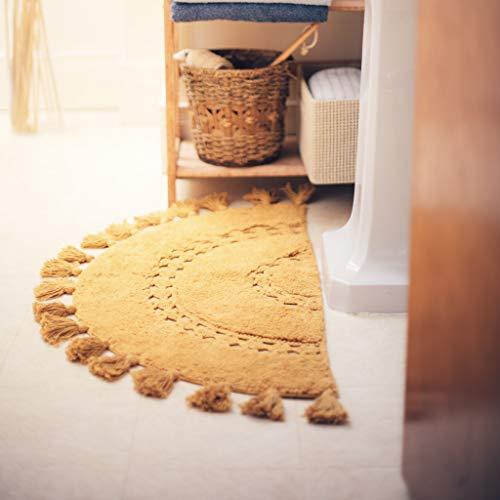 "Half Circle Bohemian Bathroom Rug with Tassels & Crochet Insert -Beautifully Handcrafted 100% Cotton Mat - Half Round Boho Bedroom Rug-Boho Bathroom Decor-Slip Resistant Backing-Honey Mustard 42""x22"""