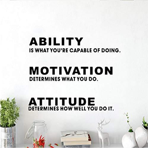 GVFTG Office Inspirational Quotes vermogen motivatie houding afneembare kunst vinyl muursticker decoratie 58 x 106 cm