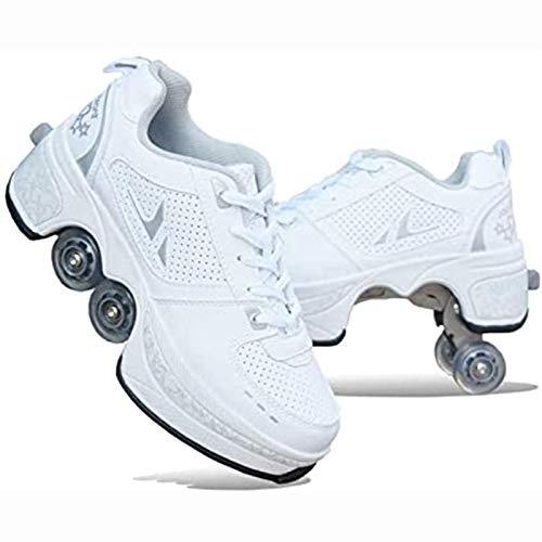 WFSH Rollschuhe 4-Rad-einstellbare Quad-Rollschuhstiefel, 2-in-1-Mehrzweckschuhe, Jungen-Mädchen-Universal Walking-Schuhe (Color : White, Size : 41)
