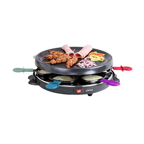Raclette Grill 6 Personen Grillplatte Tischgrill Elektrogrill Grillplatte Rund (6 Pfännchen, 800 Watt, Antihaftbeschichtung, Party Grill, Bunt)