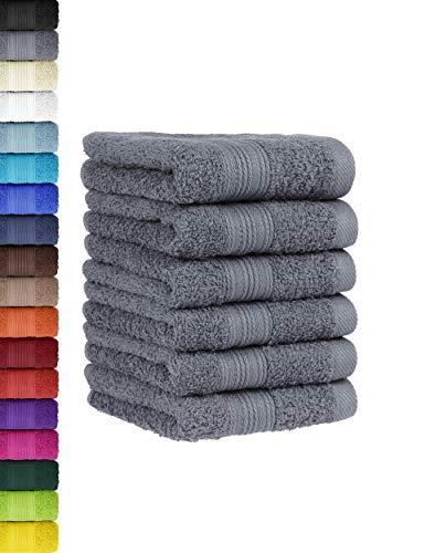 6 TLG. Gästetuch Set in vielen Farben 100% Baumwolle 6er Pack Gästetücher 30x50 cm Anthrazit