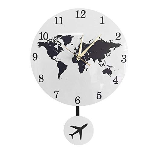 Earth Globe World Map Pendeluhr Mit Flying Plane Swing Office Dekor Geographie Reisen Wanduhr Silent Non-Ticking