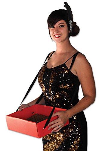 Beistle 59891 Zigarettenmädchen-Party-Tablett, 10,2 x 27,9 x 33 cm, rot/schwarz