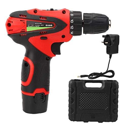 GPWDSN Destornillador eléctrico 12V Taladro inalámbrico Destornillador Batería roja Herramienta de Proyecto Herramientas multifuncionales para el hogar