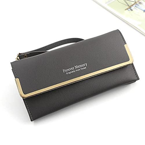 Cartera para mujer, bolso para teléfono móvil, tarjeta, cuero de PU, carteras y monederos largos para mujer, tarjetero delgado para mujer, purse-R515-2_Gray