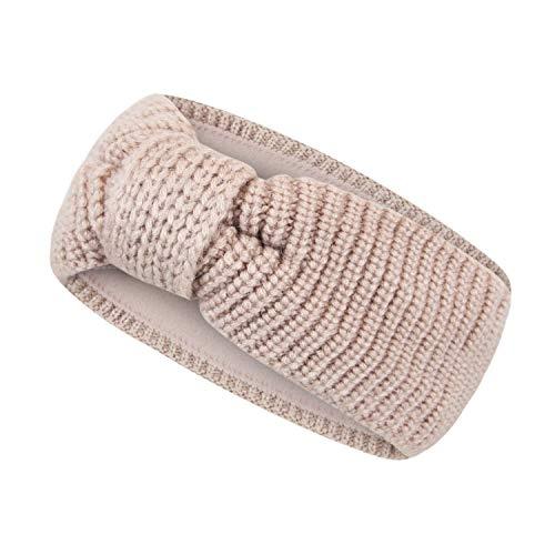 Frentree Stirnband gefüttertes Damen Strick Haarband, Mädchen Ohrenwärmer mit Schleife, warmes Fleece Innenfutter, SB1018
