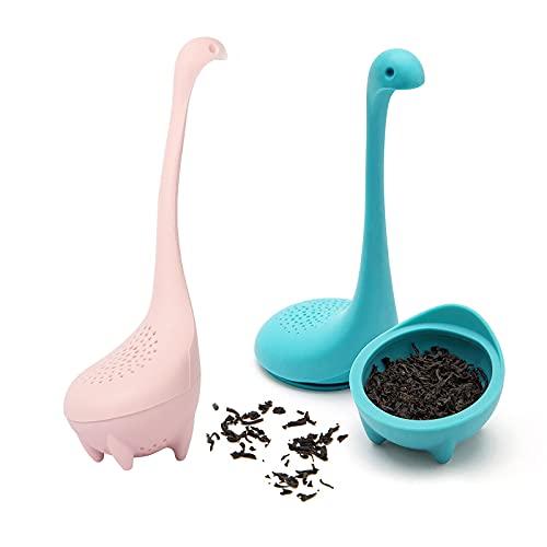 Filtre à thé en silicone, passoire à infuseur à feuilles mobiles à long manche mignon 2 ensembles de plus en forme de monstre du Loch Ness (rose + bleu)