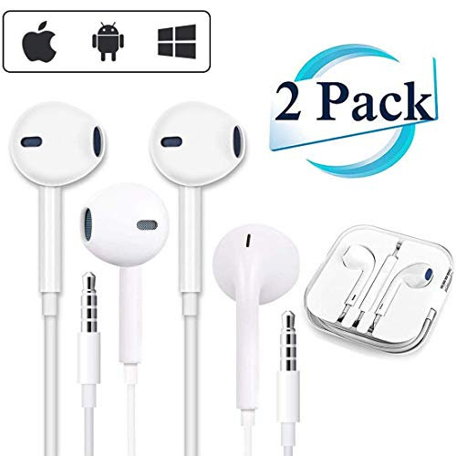 (2PACK) Headphones/Earphones/Earbuds,3.5mm aux Wired Headphones Noise Isolating Earphones Built-in Microphone & Volume Control Compatible iPhone iPod iPad Android/MP3 MP4