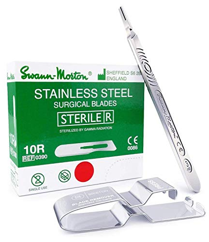 Dermaplaning Kit: Swann Morton 10R Sterile Blades, Stainless Steel (100 pcs) Bundle with Swann Morton Handle No. 3 and Briston Scalpel Blade Remover - 3 Items