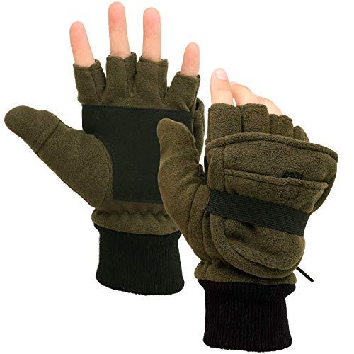 Zeltauto Herren 3M Thinsulate Handschuhe wandelbar fingerlose Fäustlinge, Überzug Mehrzweck-Handschuhe, armee-grün, M