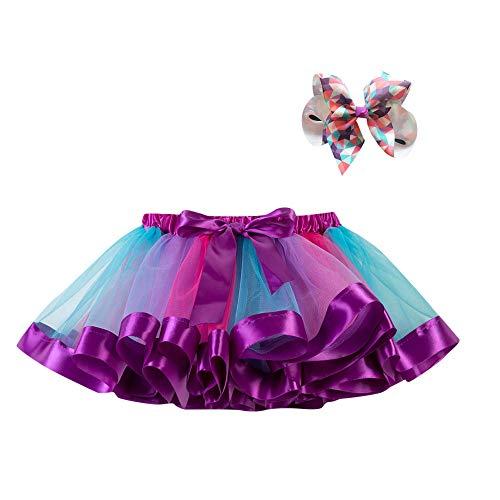 WOZOW Tutu Rock Kleinkind Bunt Regenbogen Bowknot Haarspange Tanzkleid Festliche Minirock Halloween Weihnachten Neujahr Fasching Mädchen Tüllrock