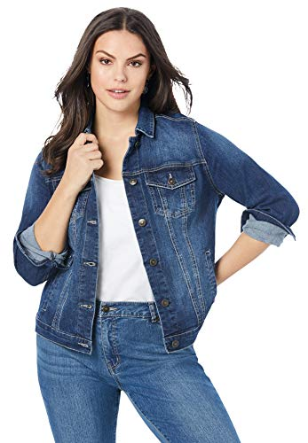 Roaman's Women's Plus Size Essential Denim Jacket - 18 W, Medium Wash Blue