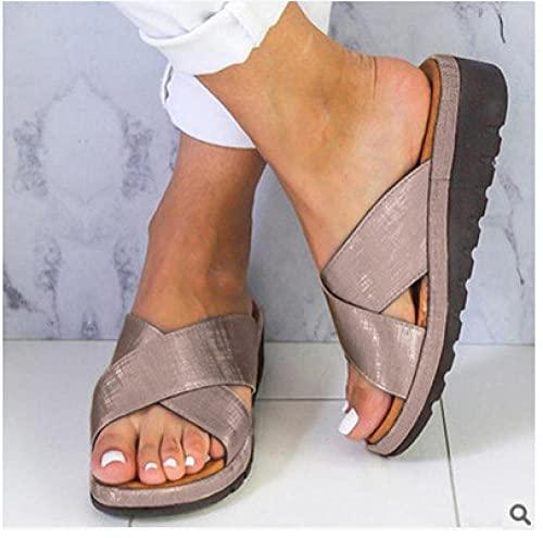 Fnho Cómodos Sandalias de Plataforma para,Sandalias de Plataforma con Correa en para Mujer,Zapatos de Pendiente y lofaked, Pendientes, Sandalias de Gran tamaño-Bronze_40