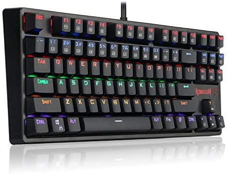 Redragon K576R DAKSA Mechanical Gaming Keyboard Wired USB LED Rainbow Backlit Compact Mechanical Gamers Keyboard 87 Keys for PC Computer Laptop Cherry Blue Switches Equivalent (Black)