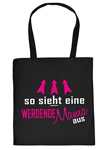 Werdende Mama Geschenk Tasche - Mutter Sprüche Baumwolltasche : So Sieht eine werdende Mama aus - Einkaufstasche Geschenktasche + Urkunde Farbe: Schwarz