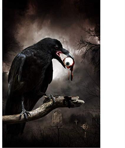 Kits de pintura por número para adultos y niños, ojo de terror, boca de cuervo negro, kits de regalo de pintura al óleo digital de bricolaje, lienzo preimpreso, decoración del hogar, 16 x 20 pulg