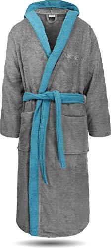 normani 100% Baumwoll Bademantel Saunamantel zweifarbig und einfarbig mit und ohne Kapuze für Damen und Herren [Gr. XS - 4XL] Farbe Grau/Blau Größe XXL