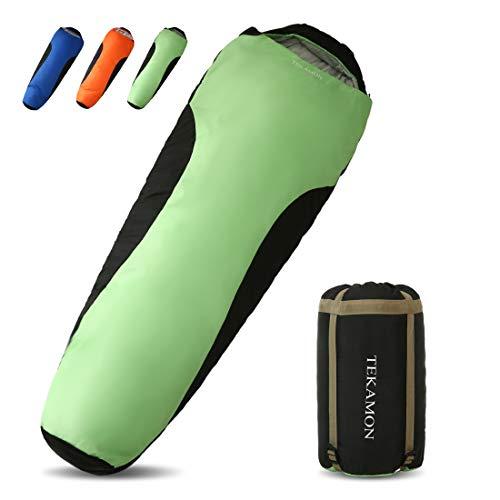 TEKAMON Schlafsack Outdoor Winter, Mumieschlafsack für 3 Jahreszeiten, Trekking Camping, Ultraleicht Kompakt Schlafsack,für Erwachsene grün 220 * 85 * 55cm