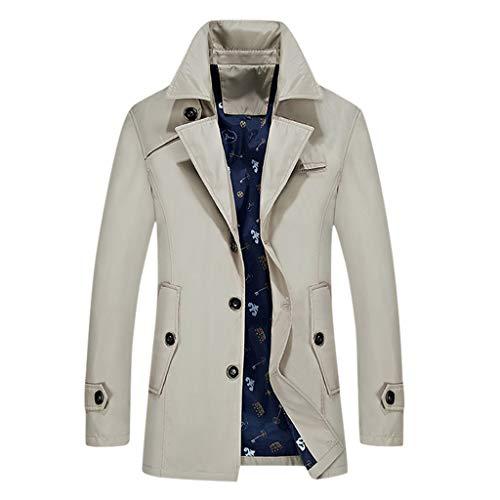 MAYOGO Herren Warm Softshelljacke Winter Mantel Trenchcoat Lang Winterjacke für Business Freizeit (Beige, XXXXL)