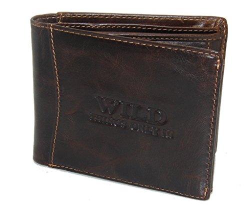 Bag Street Herren Geldbörse Portemonnaie Geldbeutel Rustikal Rindleder Leder 5453, Braun, 12,5 cm x 9,5 cm