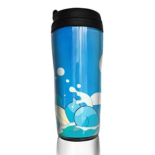 Anime Squirtle Taza de café aislamiento térmico duradero protección del medio ambiente con cubierta reutilizable doble capa anti-quemaduras, cubierta multiusos portátil base antideslizante