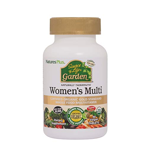 Nature's Plus Source of Life Garden Women's Daily - Vegan Tablets - Certified Organic Whole Food Multivitamin & Mineral Supplement - Energy and Immune Support - Gluten Free, Yeast Free (90)