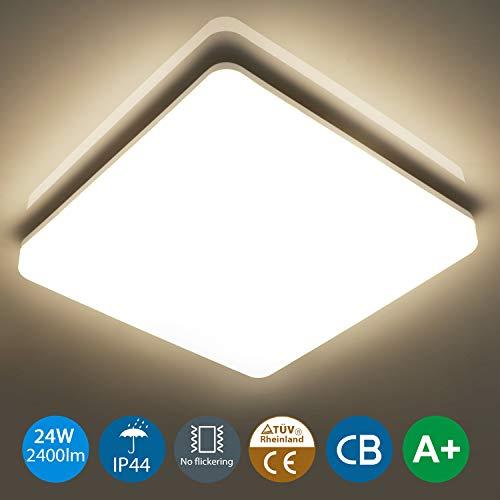 Oeegoo 24W led Deckenleuchte, IP44 Wasserfest Badlampe, 4000K LED Deckenlampe, 2400lm led Lampe ideal Für Badezimmer Balkon Flur Küche Wohnzimmer, Neutralweiß Badezimmerlampe 33x33x4.8cm