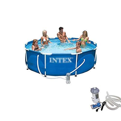 Adulto Familia piscina grande de soporte de piscina al aire libre de PVC for niños Jardín Piscina for niños piscinas infantiles de seguridad resistente Ajuste estanque de pesca, Blue-Pequeño, 305 * 76