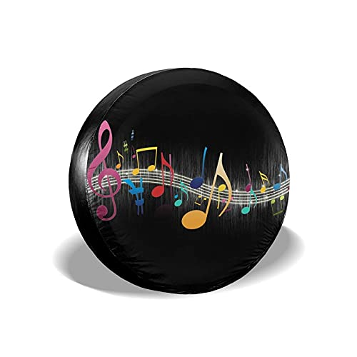 VJSDIUD Tire Covers Colorful Music Notes Spare Tire Cover Waterproof Dust-Proof Wheel Tire Cover Tire Protector Fit for Car Auto Vehicle SUV Camper Trailer RV Truck 16 Inch