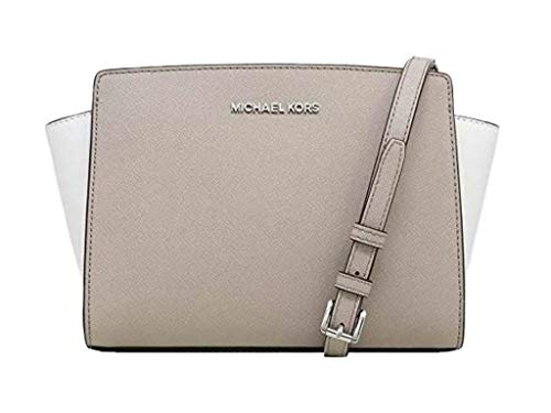 """Saffiano Leather detailed with Stitched Adjustable & Detachable Strap: 21.5""""-23.5"""" Interior Details: 1 Zip Pocket and 1 Open Pocket. Measurement: 9""""W X 6.5""""H X 4""""D. IMPORTANT : Style Made Only For MK Outlet, Does Not Include Duster Bag."""