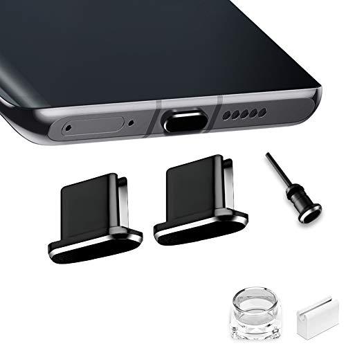 VIWIEU USB Type C キャップ コネクタ防塵保護カバー、 携帯タイプc ポート充電穴端子防塵プラグ 精密アルミ製で高級感が 超耐久 3.5MMイヤホンジャック用 SIMカード取り出す 防塵 防砂 防水 タブレット/スマホ対応 (2個 黑) 紛失防止ホルダーとケース付き ワイヤレス充電に対応 SAMSUNG S20 Note 20, Xperia XZ, AQUOS S2 対応