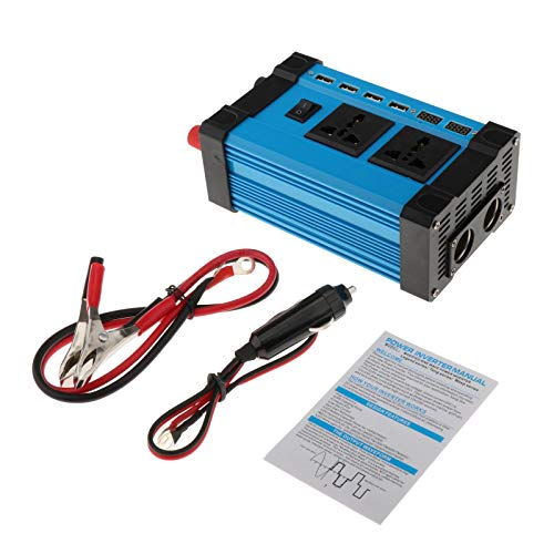 Desconocido Generic Inversor de Corriente de 300W CC 12V a CA 220V AC inversor de Coche con 4 Adaptador de Coche USB - 12V-220V