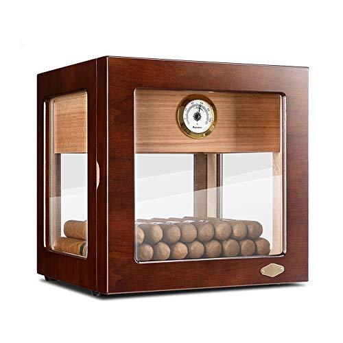 sigaar kabinet, cederhout piano verf textuur, transparant glas venster met Hygrometer en luchtbevochtiger, sigaar doos kan worden opgeslagen in partities, kan onderdak 100-150 sigaren A