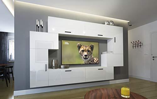 Home Direct Orlean N6, Modernes Wohnzimmer, Wohnwände, Wohnschränke, Schrankwand, Möbel AN6-17W-HG22-1A (Front: Weiß Hochglanz/Korpus: Weiß Matt, LED blau)