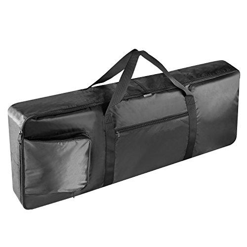 Teclado Neewer® portátil negro acolchado de 61 teclas Funda grande con bolsillos adicionales, asas de transporte y correas ajustables de mochila, hecho de nylon duradero e impermeable