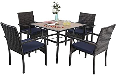 "Sophia & William Outdoor Patio 5 Pieces Dining Set with 1 Square Metal Table and 4 Brown PE Rattan Chairs with Seat Cushions, Modern Outdoor Table with 1.97"" Umbrella Hole and Wood-Like Table Top"