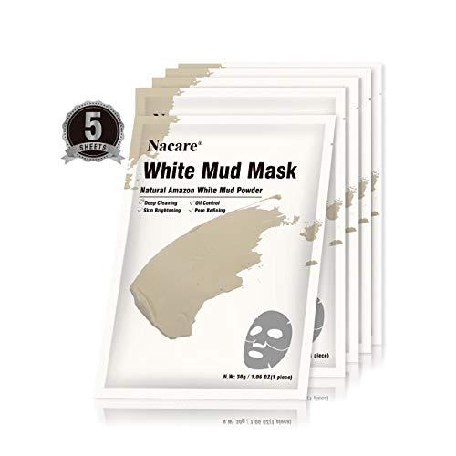 Nacare Maschera Facciale Argilla Fango Bianco per la Rimozione dei Punti Neri per il Trattamento dell acne per la Pulizia Profonda dei Pori 5 Fogli