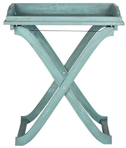 Safavieh Outdoor Collection Covina Beach House Blue Tray Table