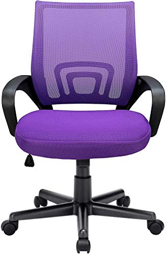 OFIKA 300LBS Office Chair Ergonomic Desk Chair, Adjustable Task Chair for Lumbar Back Support, Mesh Back Computer Chair, Rolling Swivel and Armrest, Modern Executive Home Office Desk Chairs (Purple)