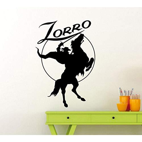 Hanzeze Zorro Muursticker Paard Rider Vinyl Decals Home Interieur Decoratie Ontwerp Kinderen Jongens Kamer Film Hero Muralen Muurposter 42x61cm