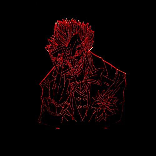 LLZGPZXYD 3D Led Batman Joker Luz De Noche 7 Cambio De Color Visual Poker Hombre Lámpara De Mesa Bebé Sueño Luz Dormitorio Decoración De La Cama Regalos