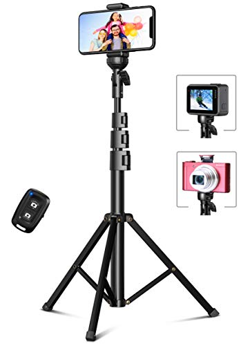 Bcway Phone Tripod, 51' Extendable Selfie Stick Tripod Bluetooth, All-in-One Travel Tripod with Remote, Compatible with iPhone 12 Pro Max/12 Pro/12/11 Pro Max/XS Max, Galaxy S20/S10, Camera, Gopro