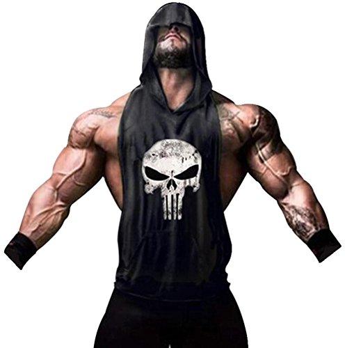 Tank Top Hombre de Tirantes Camiseta Deportiva para Pesas y Gym. Camisas Fitness sin Mangas con Capucha. (Castigador/Negra)