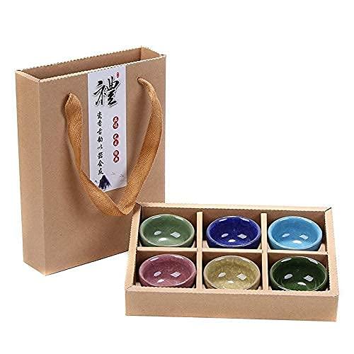 Tetera japonesa, Juego de té Viaje chino Kung Fu 6PCS Conjuntos de té de cerámica Servicio de porcelana portátil de cerámica Hielo agrietado Glaseado Tazas de té Ceremonia de té Caja de regalo Juego d