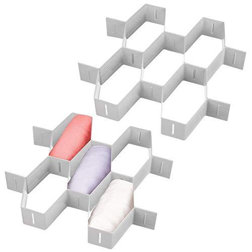 mDesign Juego de 2 organizadores de cajones – Separadores para cajones Ajustables Individualmente – Organizadores de armarios con 11 Casillas en Total Cada uno, con Estructura de Panal – Gris