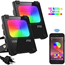 LED Flood Light 100W Equivalent, Outdoor Color Changing Led Stage Landscape Lighting, RGB Bluetooth Smart Floodlights 2700K & 16 Million Colors&Timing& Music Sync, IP66 Waterproof US 3-Plug (2 Pack)