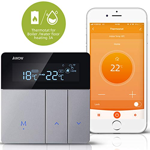 AWOW WiFi Smart Thermostat for Gas/Water Boiler Heating/Water Floor Heating,5+1+1 Programmable Smart...