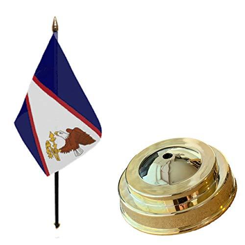 Flagmania® Bandera de mesa de escritorio de Samoa (americana) de 15 x 10 cm con base plana de plástico dorado