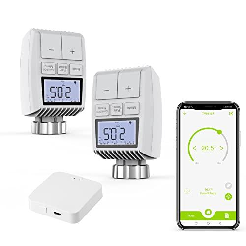 Smartes Heizkörperthermostat Bluetooth Set, AWOW Intelligenter Heizkörperregler mit App-Steuerung, kompatibel mit App Tuya, Smart Life, Amazon Alexa und Google Assistant