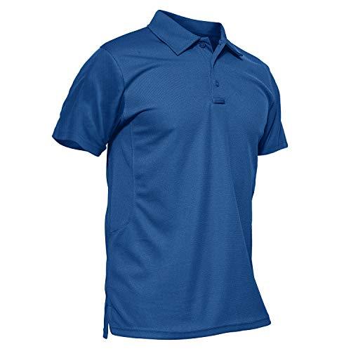 KEFITEVD Kurzarm Poloshirt Herren Outdoor Funktionsshirt Quick Dry Atmungsaktiv Sommer Tshirt Angeln Wandern Jersey Shirt Casual Freizeitshirt Königsblau L